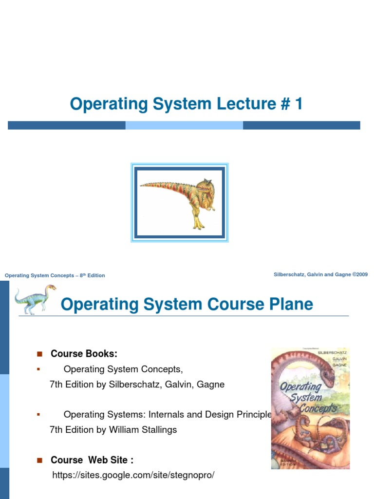 Operating System Concepts Lecture 2 Operating System Computer Data Storage