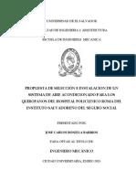 Propuesta de selección e instalacion de un sistema de aire acondicionado para los quirofanos del Hospital Policlinico Roma del Instituto Salvadoreño del Seguro Social