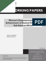 Women's Empowerment Achievement of Desaired Fertility in Sub Saharan Africa