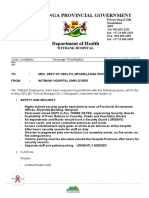 A list of concerns to the Mpumalanga Department of Health