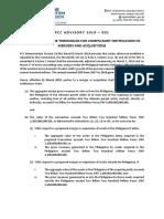 Advisory 19 001 2019.02.21 Adjustment of Thresholds