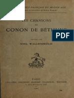 WALLENSKOLD, Les Chansons de Conon de Béthune