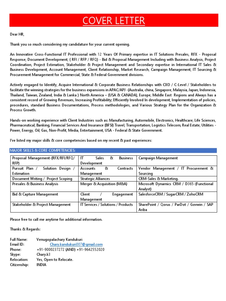 Cover Letter KVG Chary Hyderabad   Business   Mergers And ...
