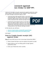 7. SAP PP - Goods Movement Against Production Order