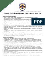 CÓDIGO DE CONDUCTA PARA ANIMADORES ADULTOS
