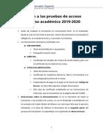 Instrucciones Inscripcion Pruebas Acceso 2019 2020