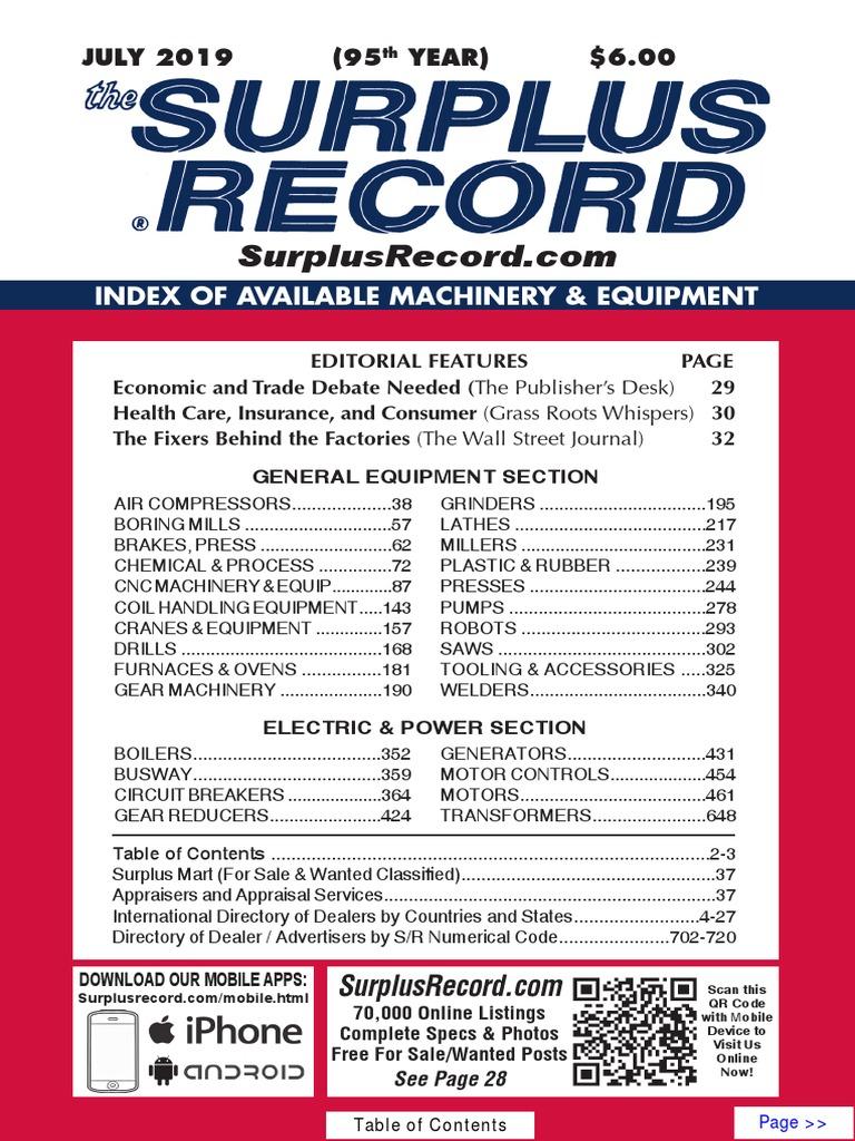 July 2019 Surplus Record Machinery Equipment Directory