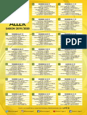Calendrier 2020 Ligue 2.Ligue 2 Le Calendrier De La Saison 2019 2020