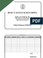 Format catatan kasus siswa dalam mapel