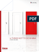 12 Things Not to Do in M&A