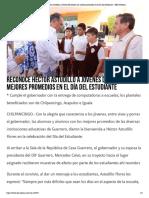 23-05-2019 Reconoce Héctor Astudillo a jóvenes del estado con mejores promedios en el día del estudiante.