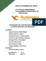 Programa de Concientizacion de La Clasificacion de Los Residuos (Reparado)