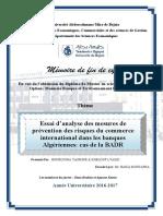 Essai d'Analyse Des Mesures de Prévention Des Risques Du Commerce International Dans Les Banques Algériennes PDF(1)