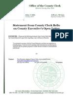 Monroe County Clerk Adam Bello's response to County Executive Cheryl Dinolfo's invitation