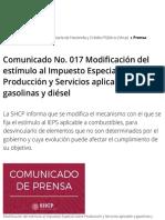 Comunicado No. 017 Modificación del estímulo al Impuesto Especial sobre Producción y Servicios aplic