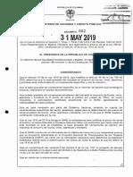 Decreto 952 Del 31 de Mayo de 2019