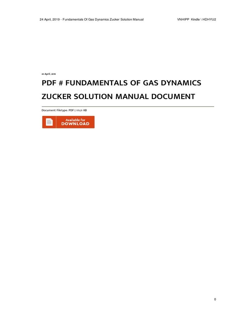 Fundamentals Of Gas Dynamics Zucker Solution Manual