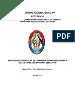 Microdiseño Curricular de La Materia de Macroeconomía II