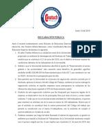 Declaración Pública - Teodoro Ribera