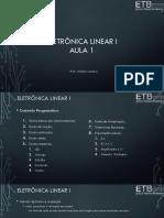 Eletrônica Linear I - Aula 1