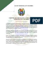 Comunicado Oficial de La Embajada de Venezuela en Colombia