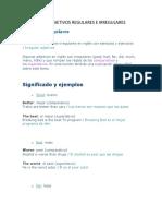 Adjetivos Regulares e Irregulares en Ingles