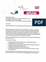 Joint Letter from CUPE, USW, and UTFA to Meric Gertler