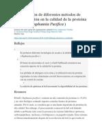 Comparación de Diferentes Métodos de Deshidratación en La Calidad de La Proteína Del Krill