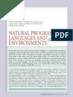 Natural Programming Languages and Environments