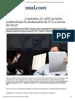 NOTA DIARIO Ante Los Inconvenientes, La AFIP Permite Confeccionar La Declaración de IVA a Través Del SIAP – IProfesional