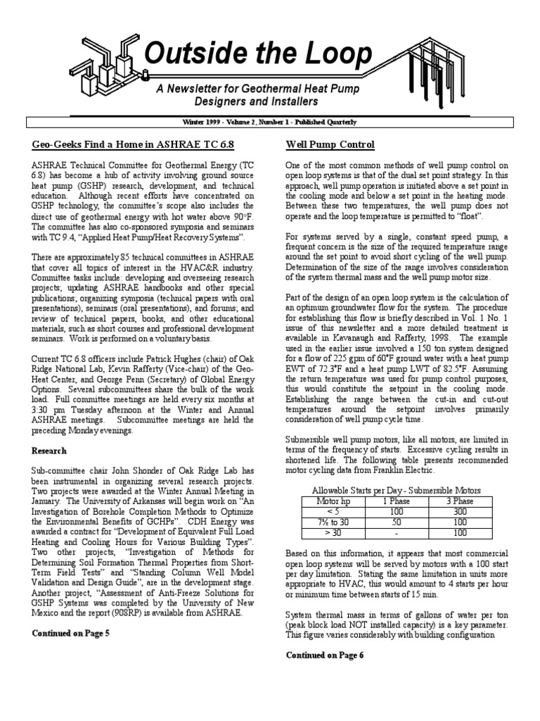 Winter 1999 Outside The Loop Newsletter For Geothermal Heat Pump Wiring Schematic 3 Phase Designers And Installers Lake Pipe Fluid Conveyance