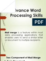 Advance Word Processing Skills