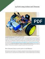 Obstacle Avoiding Robot Using Arduino and Ultrasonic Sensor