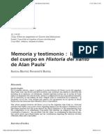Memoria y testimonio: la ética del cuerpo en Historia del llanto de Alan Pauls