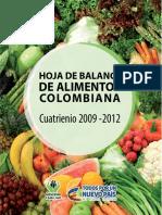 Hoja Balance Alimentos Colombiana 2009 2012