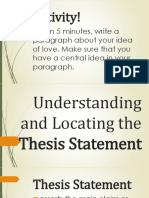 Thesis Statement & Topic Sentences