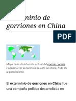 Exterminio de Gorriones en China