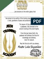 Star Wars Jedi Training Academy Certificate Free Printable Degree