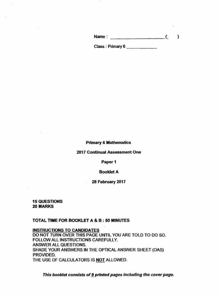 P6 Maths CA1 2017 St Nicholas Exam Papers