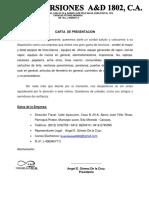 Carta de Presentacion Project Vemaz..
