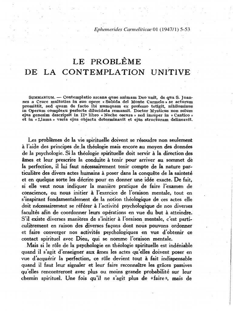 Ephemerides Carmeliticae T 1 1947 Vision Religion