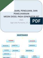 Pemeriksaan, Pengujian, Dan Pemeliharaan Mesin Diesel Genset