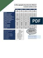 Plantilla Plan Agregado de Producción Método de Fuerza de Trabajo Constante