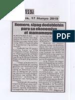 Hataw, June 17, 2019, Romero, sipag dodoblehin para sa ekonomiya at mamamayan.pdf