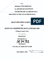 Belağat,Arap Dilinde ZARFLAR Ve Kur'an-ı Kerim'de Kullanılışları-160s-Tez,Mevlüt Kula__dnş.halit Zevalsız-1999,Marmara Üni