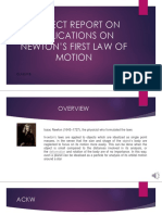 Project Report On APPLICATION OF NEWTON'S  FIRST LAW