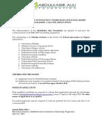 Abdulkabir Aliu Undergraduate Scholarship Call for Application-2018