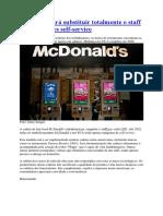 McDonalds Irá Substituir Totalmente o Staff Por Quiosques Self