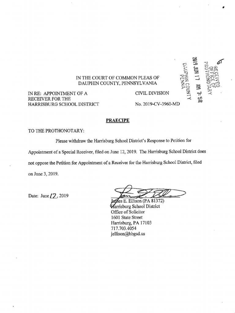 Order to Withdraw Opposition by Harrisburg School District