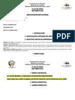 Formato Plan de Área matematicas  2019